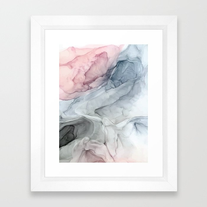 Pastel Blush, Grey and Blue Ink Clouds Painting Framed Art Print