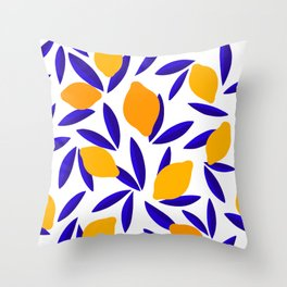 Blue and yellow Lemon Summery Pattern Throw Pillow