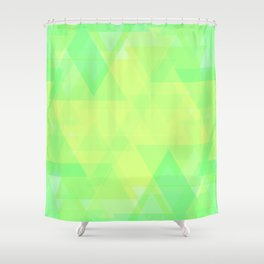 Bright lime and lemon triangles in the intersection and overlay. Shower Curtain