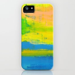 'A Sunny Day' Yellow Coral Blue Abstract Art iPhone Case