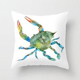 Watercolor Atlantic Blue Crab Throw Pillow