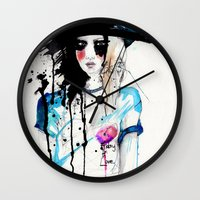 friday Wall Clocks featuring Friday by Holly Sharpe