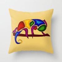 chameleon Throw Pillows featuring Chameleon by Aleksandra Mikolajczak