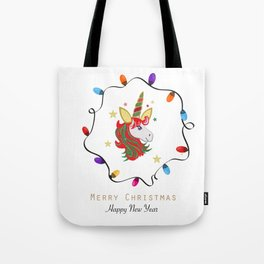 Magical unicorn horse with colorful light bulb frame Tote Bag