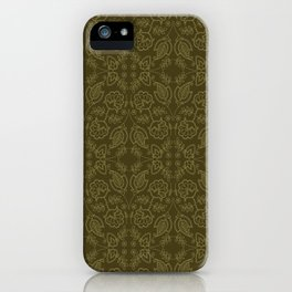 Floral leaf paisley motif running stitch style. iPhone Case