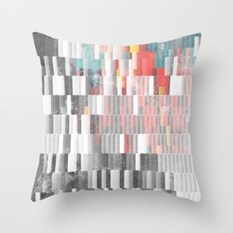 Vibrant Graffity on Black and White Geometry Throw Pillow