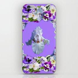 SPRING LILAC PURPLE PANSY FLOWERS & WHITE IRIS PATTERN iPhone Skin