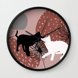 Black and white Cat with Dandelion Flowers Wall Clock