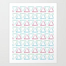 Peaks - Teal, Green, Red, & Blue #546 Art Print