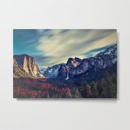 Yosemite Valley and Waterfall in Autumn Metal Print
