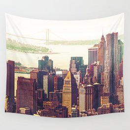 New York City Skyline Colors Wall Tapestry