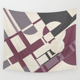 Space Probe Abstract in Mulberry, Aubergine, Mauve and Grey Wall Tapestry