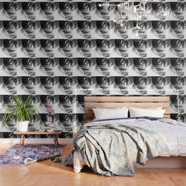 Palm Leaves Black & White Vibes #1 #tropical #decor #art #society6 Wallpaper
