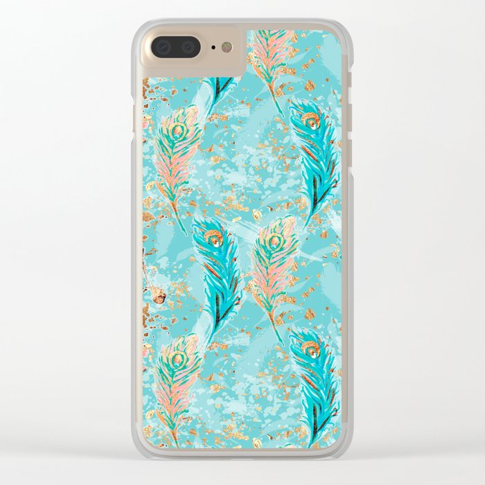Feather peacock peach mint #8 Clear iPhone Case