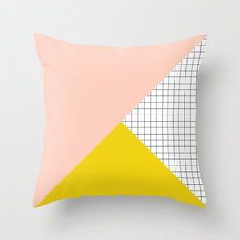 Mustard and Blush Tri Grid Throw Pillow