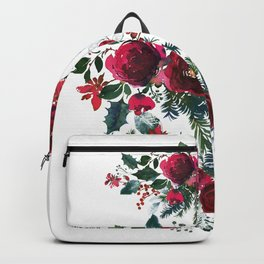 Red burgundy Christmas season floral bouquets love and peace script Backpack
