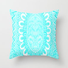 Blue and White Doodle Throw Pillow