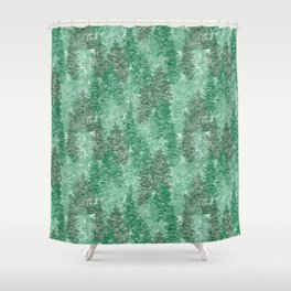 Green Summer Conifer Forest Watercolor Pattern Shower Curtain