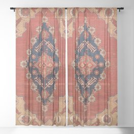 Southwest Tuscan Shapes II // 18th Century Aged Dark Blue Redish Yellow Colorful Ornate Rug Pattern Sheer Curtain