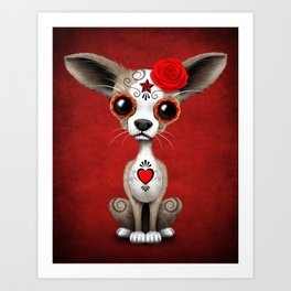 Red Day of the Dead Sugar Skull Chihuahua Puppy Art Print