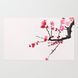 red plum flower red background Rug