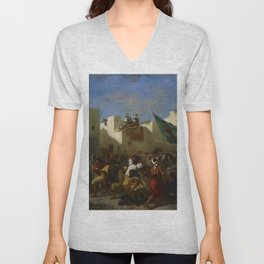 "Eugène Delacroix ""The Fanatics of Tangier"" Unisex V-Neck"