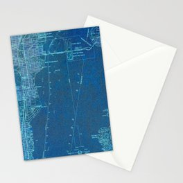 Miami Florida vintage map year 1950, blue usa maps Stationery Cards