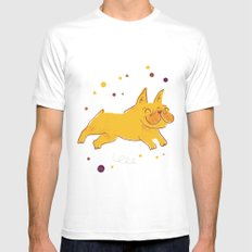 Happy Fall, Dogs! (Frenchie) MEDIUM Mens Fitted Tee White