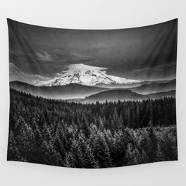 Mt Hood Black and White Mountain Wall Tapestry