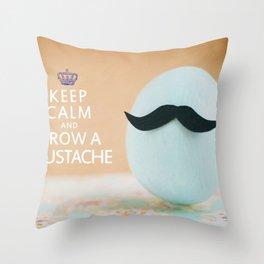 Keep Calm & Grow A Mustache Throw Pillow