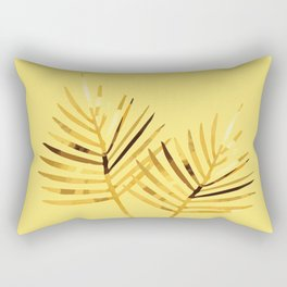 two Palm Leaves with yellow background Rectangular Pillow