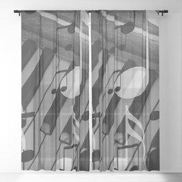music notes white black piano keys Sheer Curtain