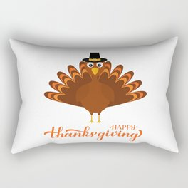 Happy Thanksgiving calligraphy hand lettering with cute cartoon turkey Rectangular Pillow