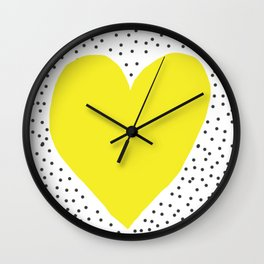 Yellow heart with grey dots around Wall Clock