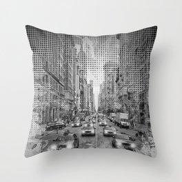 Graphic Art NEW YORK CITY Traffic   Monochrome Throw Pillow