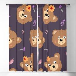 Bears & Mushrooms Pattern Blackout Curtain