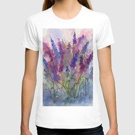 Delphinium Blues, from my original watercolor T-shirt