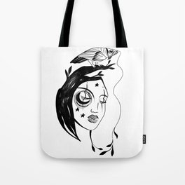 Face art and parrot Tote Bag