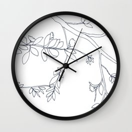 Branches and Leaves, Drawing in Black and White Wall Clock