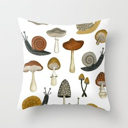 mushrooms and snails Throw Pillow
