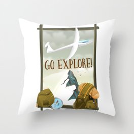 Go Explore! Throw Pillow