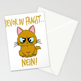 """Perfect German Gift for Cat Lovers A Persian Cat Tee """"Bevor Du Fragst Nein!"""" T-shirt Design Kitty Stationery Cards"""