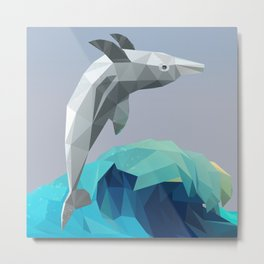 Low Poly Dolphin Wave Metal Print