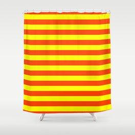 Super Bright Neon Orange and Yellow Horizontal Beach Hut Stripes Shower Curtain