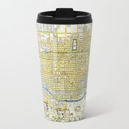 Japanese woodblock map of Kyoto, Japan, 1696 Travel Mug