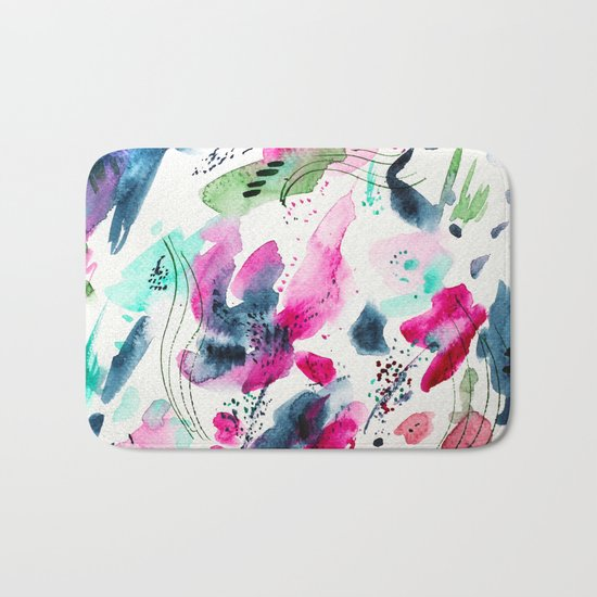Floral abstraction #2 || watercolor Bath Mat