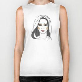 Asian woman with long hair. Abstract face. Fashion illustration Biker Tank