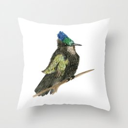 Antillean Crested Hummingbird Throw Pillow