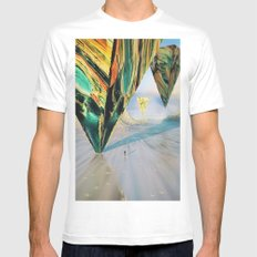 Broadcast MEDIUM White Mens Fitted Tee