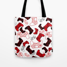 Video Games Red on White Tote Bag